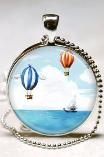 Nautical Jewelry Sail Boat and Hot Air Balloons Ship, Sailing, Boating, Ocean