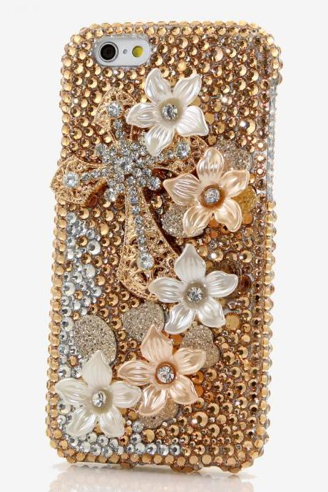 Bling Crystals Phone Case for iPhone 6 / 6s, iPhone 6 / 6s PLUS, iPhone 4, 5, 5S, 5C, Samsung Note 2, Note 3, Note 4, Galaxy S3, S4, S5, S6, S6 Edge, HTC ONE M9 (GOLDEN CROSS DESIGN) By LuxAddiction