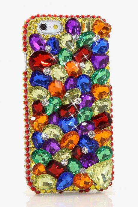 Bling Crystals Phone Case for iPhone 6 / 6s, iPhone 6 / 6s PLUS, iPhone 4, 5, 5S, 5C, Samsung Note 2, Note 3, Note 4, Galaxy S3, S4, S5, S6, S6 Edge, HTC ONE M9 (THE RAINBOW DESIGN) By LuxAddiction
