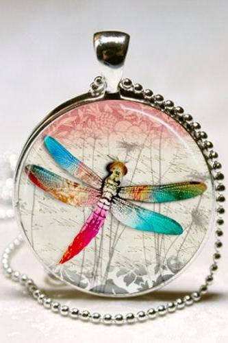 Dragonfly Necklace, Dragonfly Jewelry, Insects, Bugs, Colorful Nature Art