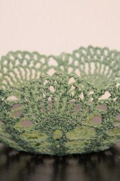 Mint Green Bowl Lace Crochet Doily Basket