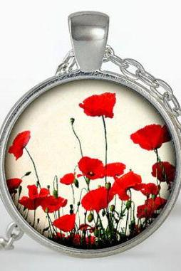 Poppy Pendant, poppy Necklace, Silver plated pendant, Jewelry, red, necklace