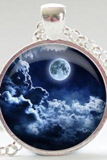 Night Sky Necklace, Full Moon Pendant, Moon and Clouds Charm