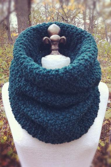 Oversized Chunky Cowl Snood Hood Scarf - Pine - MADE TO ORDER