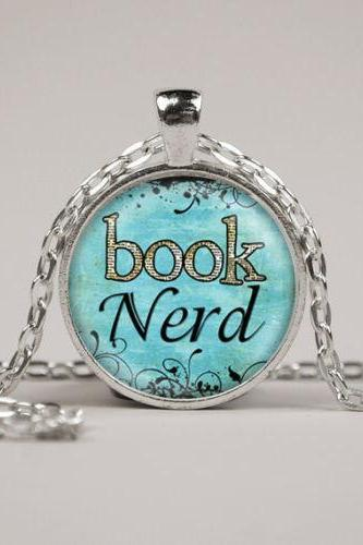 Book Nerd Necklace or Keyring Glass Art Print Jewelry Charm Gifts for Her