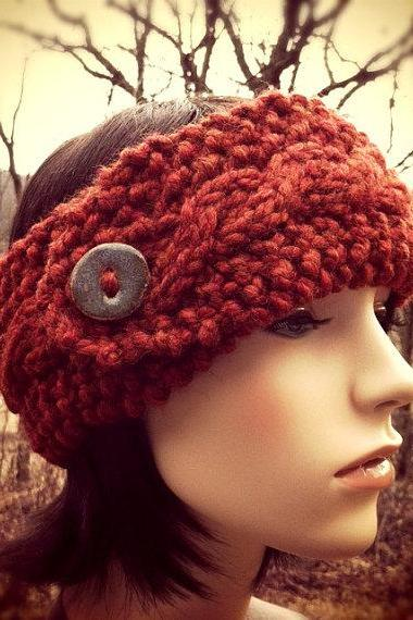Chunky Cable Headband Earwarmer with Artisan Button - Rust - MADE TO ORDER