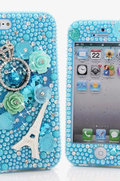 Bling Crystals Phone Case for iPhone 6, iPhone 6 PLUS, iPhone 4, 5, 5S, 5C, Samsung Note 2, Note 3, Note 4, Galaxy S3, S4, S5, S6, S6 Edge, HTC ONE M9 (THE DIAMOND RING DESIGN) By LuxAddiction