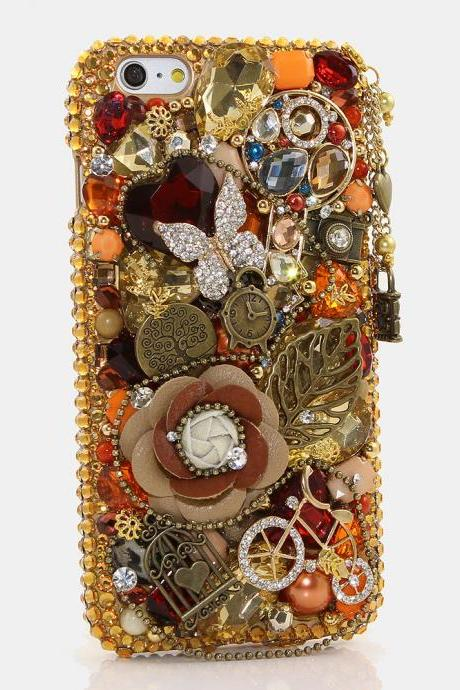 Bling Crystals Phone Case for iPhone 6 / 6s, iPhone 6 / 6s PLUS, iPhone 4, 5, 5S, 5C, Samsung Note 2, Note 3, Note 4, Galaxy S3, S4, S5, S6, S6 Edge, HTC ONE M9 (VINTAGE JEWELRY WITH PHONE CHARM DESIGN) By LuxAddiction