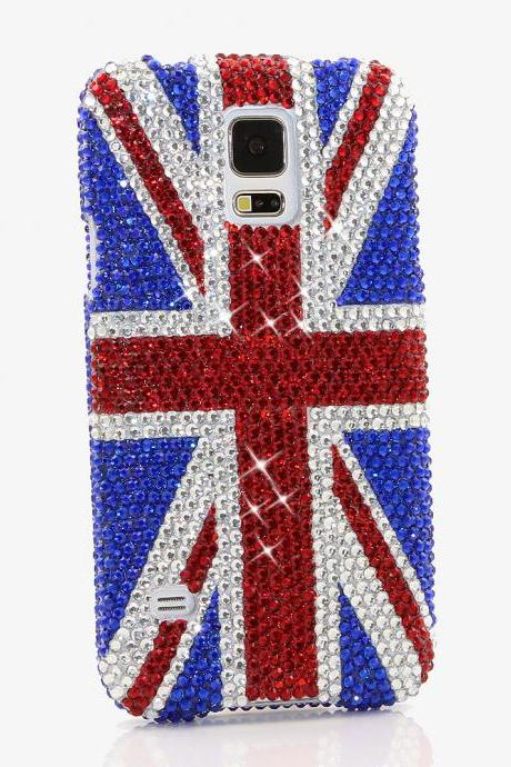 Bling Crystals Phone Case for iPhone 6 / 6s, iPhone 6 / 6s PLUS, iPhone 4, 5, 5S, 5C, Samsung Note 2, Note 3, Note 4, Galaxy S3, S4, S5, S6, S6 Edge, HTC ONE M9 (BRITISH FLAG DESIGN By LuxAddiction