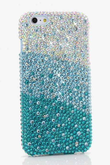 Bling Crystals Phone Case for iPhone 6 / 6s, iPhone 6 / 6s PLUS, iPhone 4, 5, 5S, 5C, Samsung Note 2, Note 3, Note 4, Galaxy S3, S4, S5, S6, S6 Edge, HTC ONE M9 (AB FADED TO TURQUOISE CRYSTALS DESIGN) By LuxAddiction