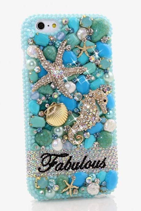 Bling Crystals Phone Case for iPhone 6 / 6s, iPhone 6 / 6s PLUS, iPhone 4, 5, 5S, 5C, Samsung Note 2, Note 3, Note 4, Galaxy S3, S4, S5, S6, S6 Edge, HTC ONE M9 (TURQUOISE OCEAN PERSONALIZED NAME & INITIALS DESIGN) By LuxAddiction