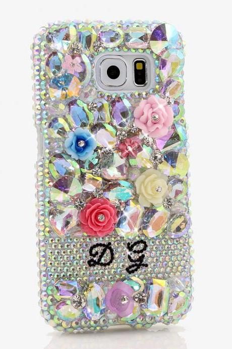 Bling Crystals Phone Case for iPhone 6 / 6s, iPhone 6 / 6s PLUS, iPhone 4, 5, 5S, 5C, Samsung Note 2, Note 3, Note 4, Galaxy S3, S4, S5, S6, S6 Edge, HTC ONE M9 (AB STONES AND FLORALS PERSONALIZED NAME & INITIALS DESIGN) By LuxAddiction