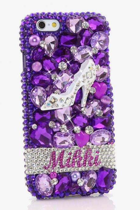 Bling Crystals Phone Case for iPhone 6 / 6s, iPhone 6 / 6s PLUS, iPhone 4, 5, 5S, 5C, Samsung Note 2, Note 3, Note 4, Galaxy S3, S4, S5, S6, S6 Edge, HTC ONE M9 (DIAMOND HEELS PERSONALIZED NAME & INITIALS DESIGN) By LuxAddiction