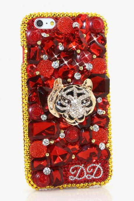 Bling Crystals Phone Case for iPhone 6 / 6s, iPhone 6 / 6s PLUS, iPhone 4, 5, 5S, 5C, Samsung Note 2, Note 3, Note 4, Galaxy S3, S4, S5, S6, S6 Edge, HTC ONE M9 (GOLDEN TIGER PERSONALIZED NAME & INITIALS DESIGN ) By LuxAddiction