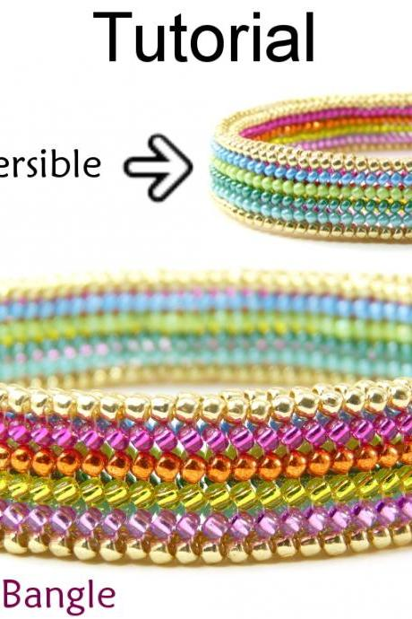 Beading Tutorial Pattern Bangle Bracelet - Flat Tubular Herringbone Stitch - Simple Bead Patterns - Reversible Bangle #15113