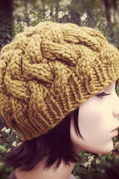 Chunky Woven Cable Hat - Golden Olive - MADE TO ORDER
