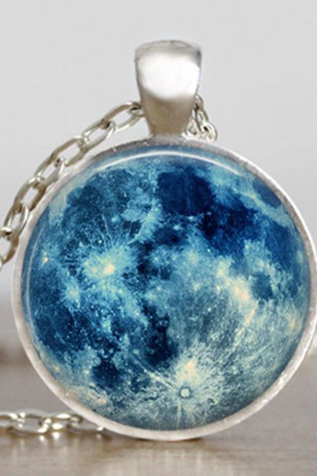 Blue moon necklace, full moon jewelry, moon pendant, lunar pendant, moon