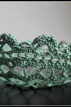 Crochet Lace Doily Bowl Basket Mint Green