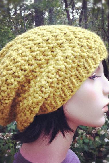 Chunky Textural Super Slouch Hat - Citron - MADE TO ORDER