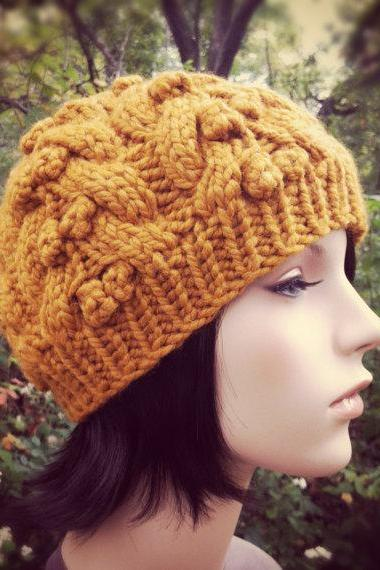 Hand Knit Hat Womens Hat Chunky Cable Beanie - Butterscotch - MADE TO ORDER
