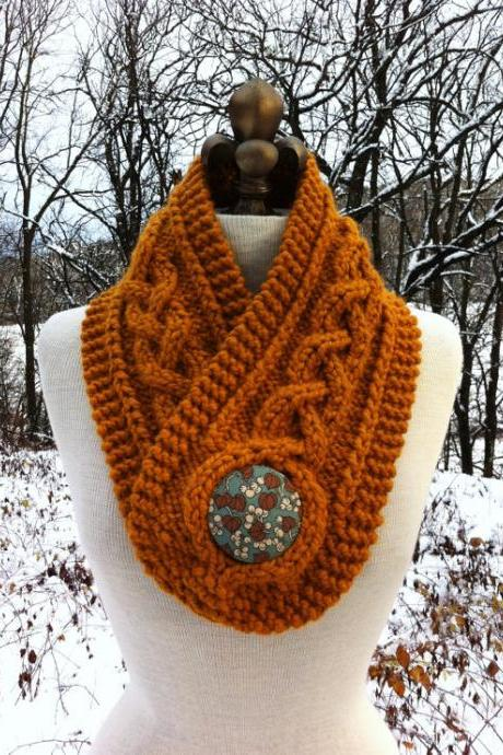 Warmer with Giant Covered Button - Butterscotch - MADE TO ORDER