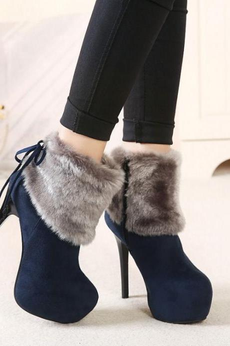 Women's Pure Color Suede Stiletto Heel Round Toe Tassels Boots With Side Zippers
