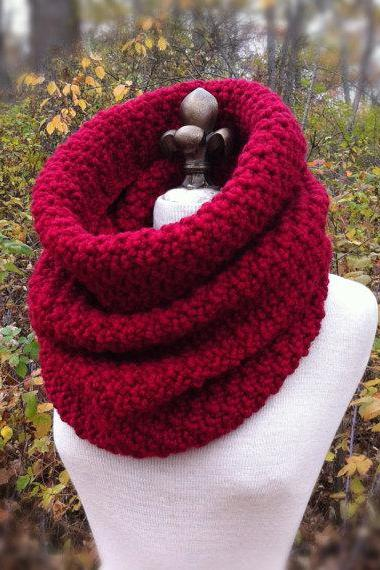 Oversized Chunky Cowl Snood Hood Scarf - Cranberry Red - MADE TO ORDER