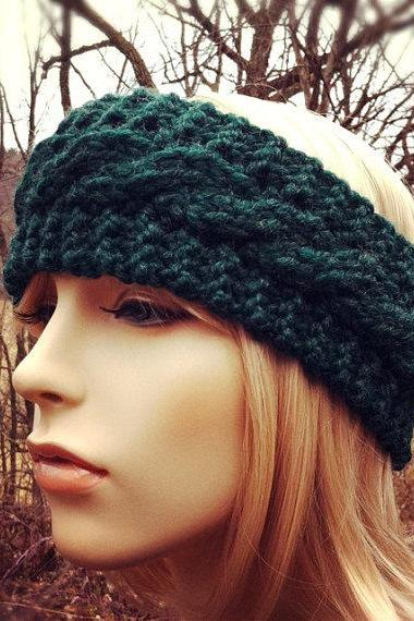 Chunky Cable Headband Earwarmer - Pine - MADE TO ORDER