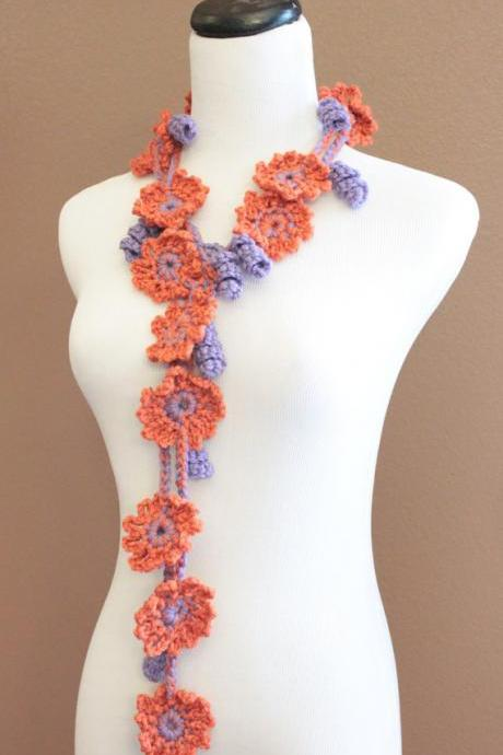 Crochet Flower Scarf Lariat Spring Fashion Orange & Purple