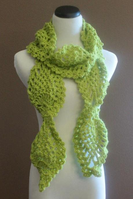 Crochet Scarf Lemongrass Thick Chunky Lace Pineapple Motif Neckwarmer