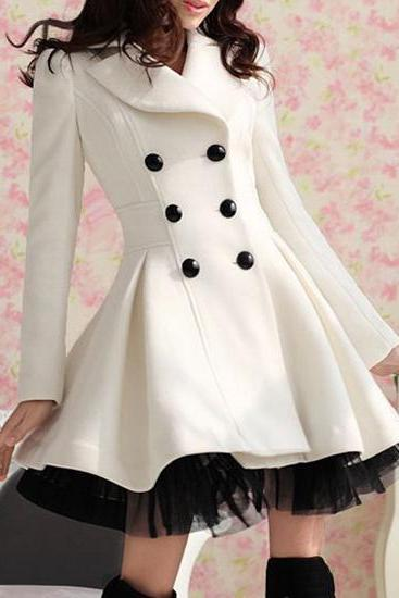 Lovely Double-Breasted Beam Women's Coat Waist Ruffles Winter Coat