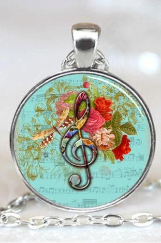 Blue Treble Clef Music with Dragonfly and Roses Pendant, Treble Clef Necklace
