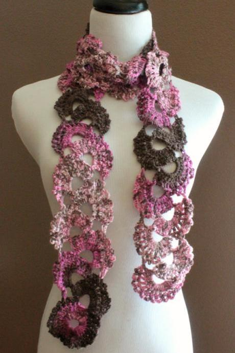 Crochet Queen Annes Lace Scarf Seashell Ombre Varigated Multicolor Pink and Brown
