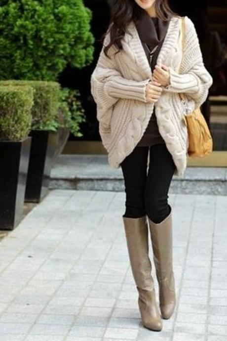 Batwing Sleeve Women Loose coat