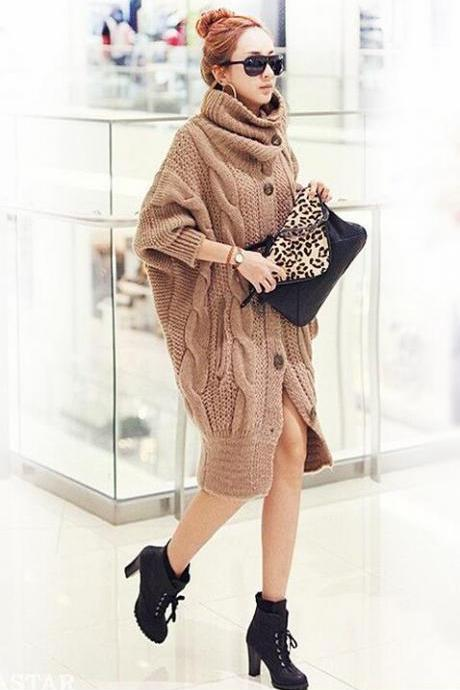 Han edition thick twist long sweater and coat