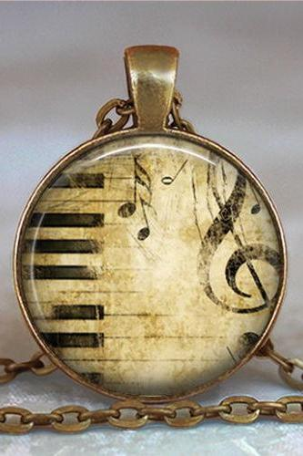 Keyboard and Treble Cleff pendant, musician's gift, music teacher's gift