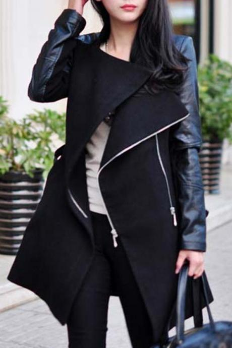 Design Winter Women Coat in Black and Grey
