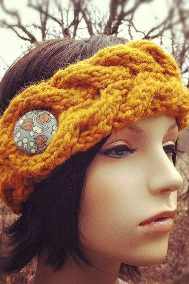 Chunky Braided Cable Headband Earwarmer with Covered Button - Butterscotch - MADE TO ORDER