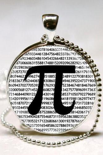 PI Necklace Math Jewelry Teachers, Science, Mathematics Black and White Art