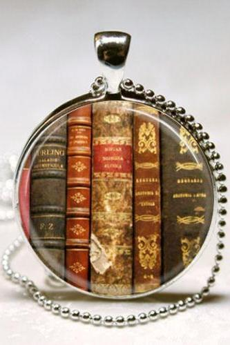 Book Necklace Old Book Spines Art Pendant with Ball Chain Included