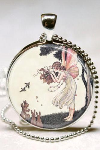 Musical Fairy Necklace Woodland Fairies Bunny Rabbits Fantasy Art Pendant