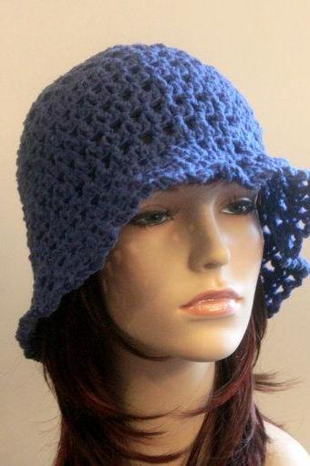 Crochet Hat Blue Summer Beach Floppy Wide Brim