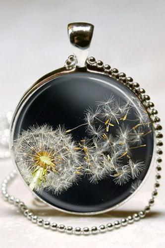 Dandelion Necklace Spring Flowers Garden Floral Art Pendant with Ball Chain