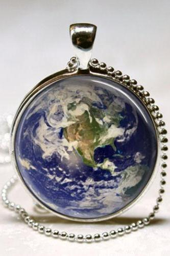 Planet Earth Necklace Glass Bezel Pendant with Ball Chain Included
