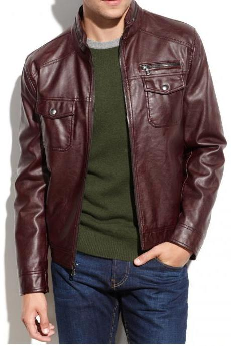 HANDMADE NEW MEN BIKER LEATHER JACKET, MENS MOTRCYCLE LEATHER JACKET