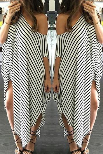 Skew Neck Stripe Print Asymmetric Shift Dress