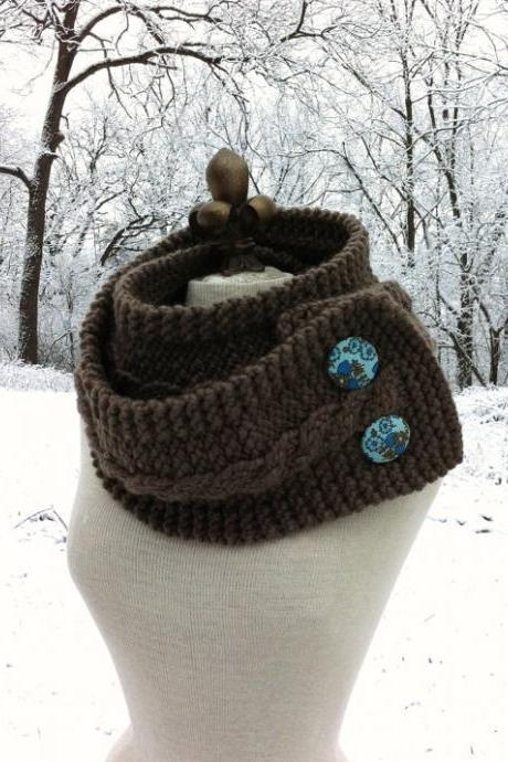 Infinity Scarf Cowl with Vintage Covered Buttons - Taupe