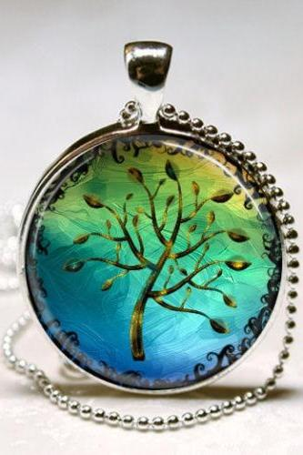 Tree Necklace, Tree of Life, Blue and Green Nature Art Pendant with Ball Chain