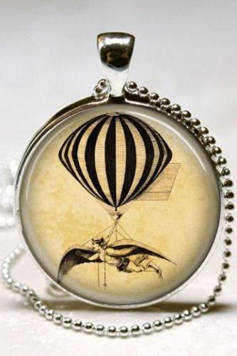 Hot Air Balloon Necklace, Steam Punk Jewelry, Steampunk, Vintage Hot Air