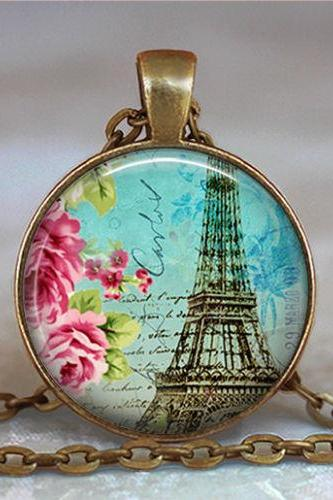 Teal Paris pendant, Paris necklace, Eiffel Tower pendant, Eiffel Tower necklace